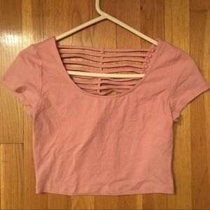 Pink Crop Top W/Caged Back
